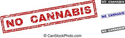 Grunge NO CANNABIS Scratched Rectangle Stamp Seals