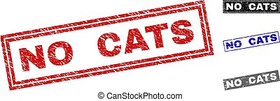 Grunge NO CATS Textured Rectangle Stamp Seals