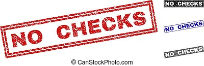 Grunge NO CHECKS Textured Rectangle Stamp Seals