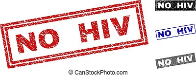 Grunge NO HIV Textured Rectangle Stamp Seals
