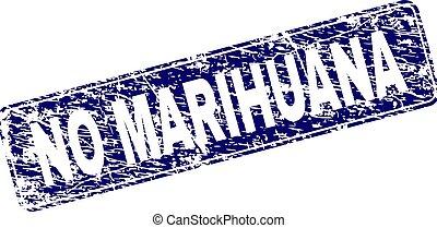 Grunge NO MARIHUANA Framed Rounded Rectangle Stamp