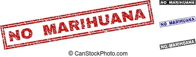 Grunge NO MARIHUANA Scratched Rectangle Stamp Seals