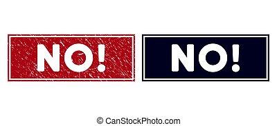 Grunge No! Rectangle Stamp Seal