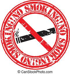 Grunge no smoking rubber stamp, vec