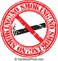 Grunge no smoking rubber stamp, vec
