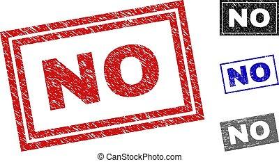 Grunge NO Textured Rectangle Stamp Seals