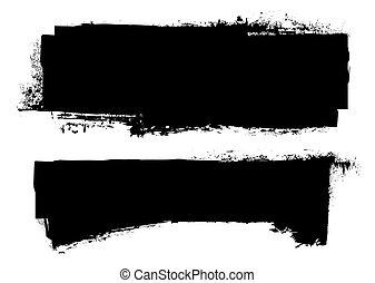 grunge, noir, bannière, encre