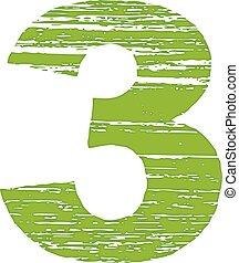 grunge, nombre, gratter, 3., logo, style.