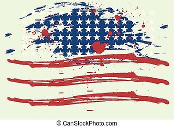 grunge, norteamericano, vector, arte, bandera