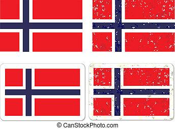 grunge, norvège, flag.