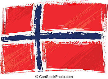 Norway national flag created in grunge style