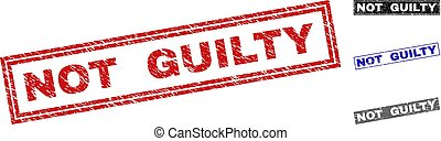 Grunge NOT GUILTY Textured Rectangle Stamp Seals