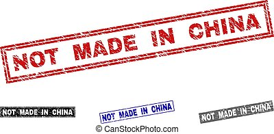Grunge NOT MADE IN CHINA Textured Rectangle Stamp Seals