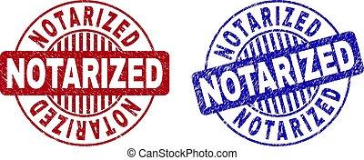Grunge NOTARIZED Textured Round Stamp Seals