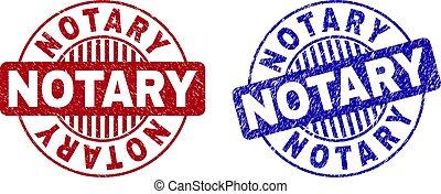 Grunge NOTARY Scratched Round Stamp Seals