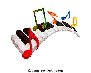 grunge, notas, ilustración, ondulado, música, teclado, piano, 3d