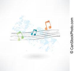 grunge, notazione musicale, icona
