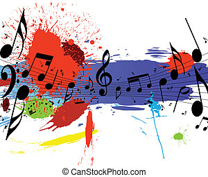 grunge notes staff - Vector musical notes staff on grunge...