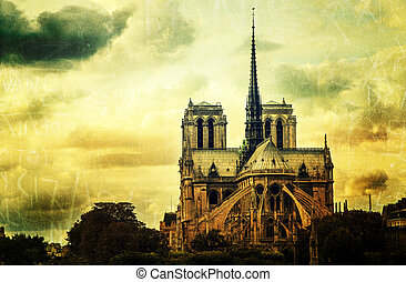 Grunge view of Notre Dame cathedral in Paris