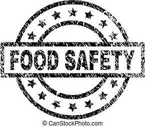 grunge, nourriture, textured, timbre, label sécurité