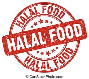 grunge, nourriture, vendange, tampon, halal, rond, rouges
