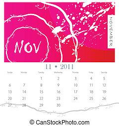 grunge, novembre, vigne, calendrier