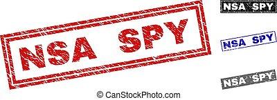 Grunge NSA SPY Textured Rectangle Stamp Seals
