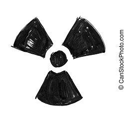 grunge, nucleare, simbolo, radiazione, mano, inchiostro nero, disegno