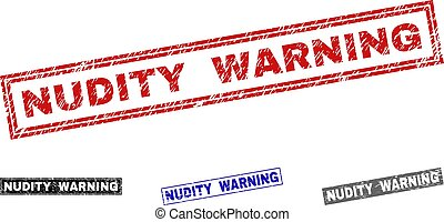 Grunge NUDITY WARNING Textured Rectangle Stamp Seals