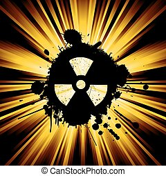 Grunge nuke sign - abstract background with exploding rays ...