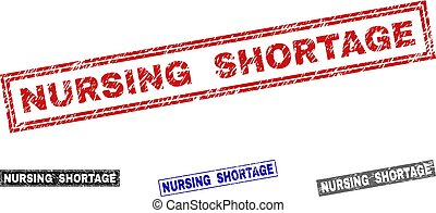Grunge NURSING SHORTAGE Scratched Rectangle Stamp Seals