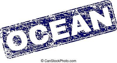 Grunge OCEAN Framed Rounded Rectangle Stamp