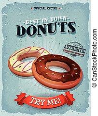 grunge, och, årgång, amerikan, donuts, affisch