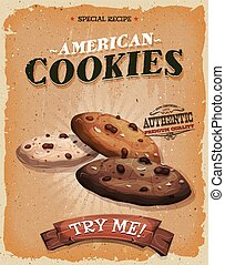 grunge, och, årgång, amerikan, småkakor, affisch