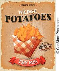 grunge, och, årgång, kil, potatisarna, affisch