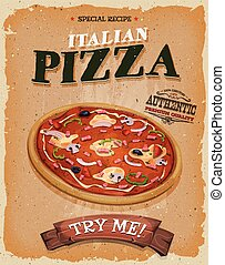 grunge, och, årgång, pizzeria, affisch