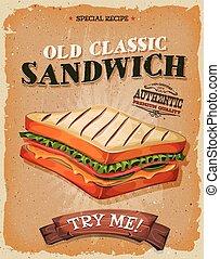 grunge, och, årgång, sandwich, affisch