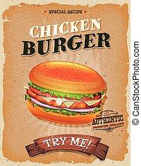 grunge, och, årgång, ynkrygg burger, affisch