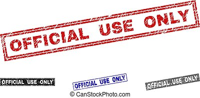 Grunge OFFICIAL USE ONLY Textured Rectangle Stamp Seals