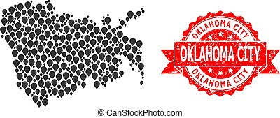 Grunge Oklahoma City Stamp and Mark Mosaic Map of Nuku Hiva Island