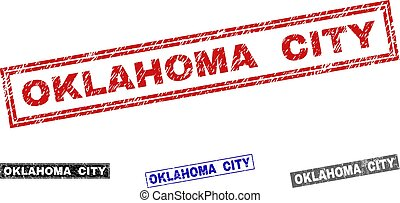 Grunge OKLAHOMA CITY Textured Rectangle Stamps