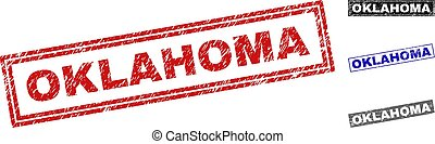 Grunge OKLAHOMA Textured Rectangle Stamp Seals