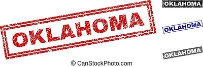 Grunge OKLAHOMA Textured Rectangle Stamp Seals