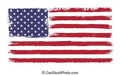 """grunge, """"old, bandiera, 50, americano, versione, vettore,..."""