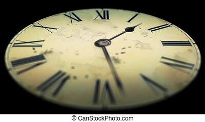 Grunge old clock in the dark