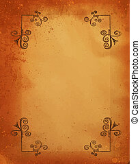 grunge old paper background with ornament corners