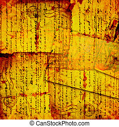Grunge old paper design in scrapbooking style with handwriting