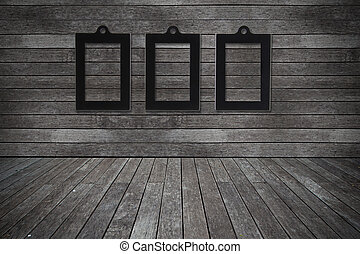 Grunge old wood texture room background with photo frame