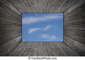 Grunge old wood texture room background with sky