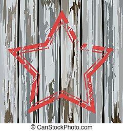 Grunge old wooden fence star frame. Vector